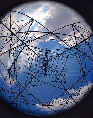 wire: Pole high voltage wire to the lens. Stock Photo