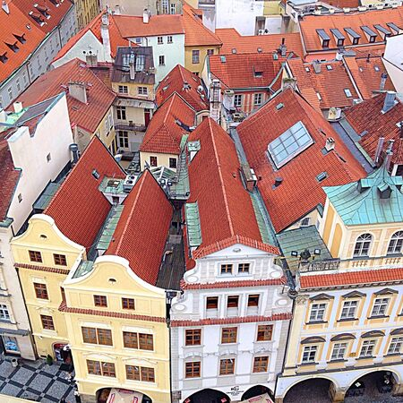 architecture: House Beautiful architecture in Prague Stock Photo