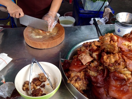 stewed: Stewed pork leg with rice Stock Photo