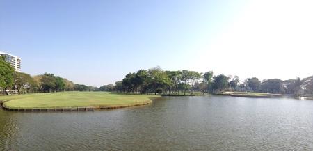 hazard: Water hazard and fairway in golf course