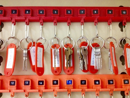 key cabinet: The key store in cabinet Stock Photo
