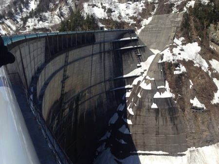 architecture: Khloe Lake Dam atop the Jasper Alps in the midst of the snow