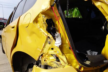 accident body: crashed car Stock Photo