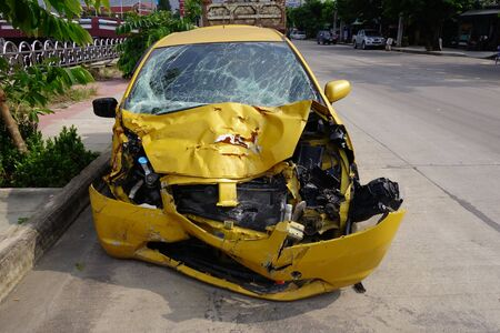 crashed: crashed car from accident