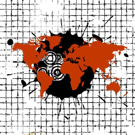 penal system: Abstract background with world
