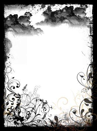 Floral background in grunge frame