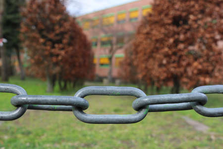 Chain in front of a school / building
