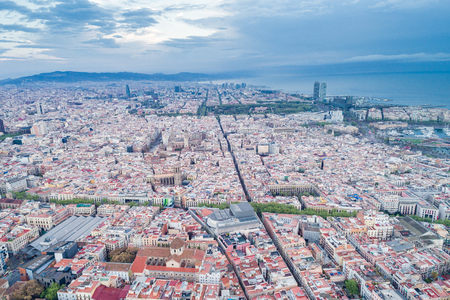 View Point Of Barcelona in Spain. On Montjuïc hill, Mirador de lAlcalde, or Mayors Viewpoint is a terraced belvedere overlooking the city of Barcelona