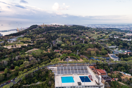 View Point Of Barcelona in Spain. On Montjuïc hill, Mirador with swimming pool. 写真素材