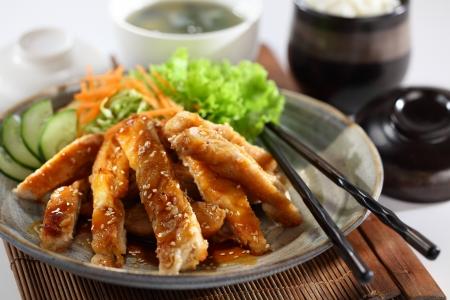 eating chicken: Teriyaki Chicken. One of the best Japanese chicken dishes
