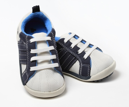 A pair of generic blue baby boy shoes