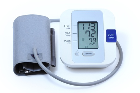 self exam: Modern electronic blood pressure equipment Stock Photo