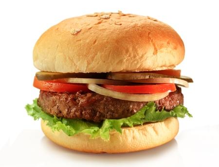Délicieux hamburger juteux grillé sur pain de blé Banque d'images - 12156625