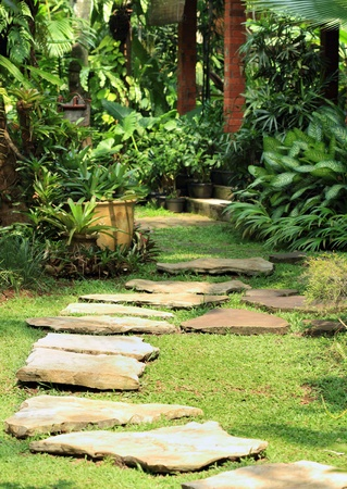 Natural stone path in a natural garden
