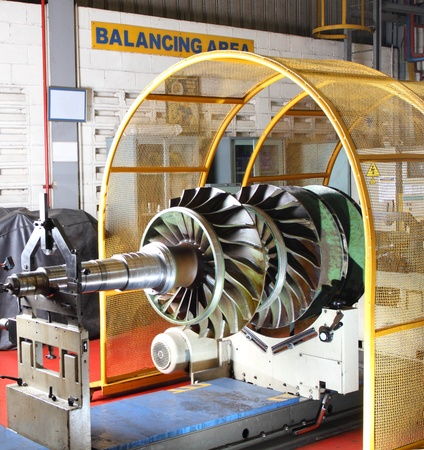 Balancing equipment at work in a factory Stock Photo
