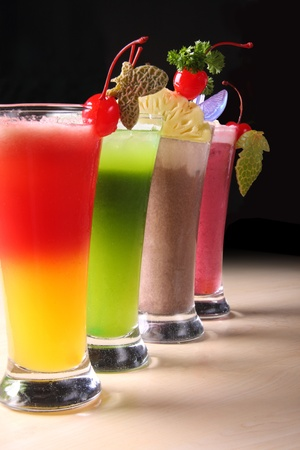 Various healthy juice drinks Stock Photo