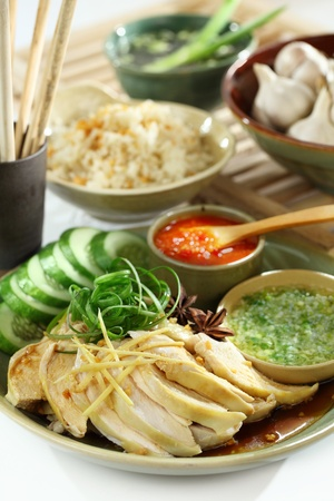 authenticity: Chinese and Vietnam famous Com Ga Hai Nam. Hainan Chicken Rice dish