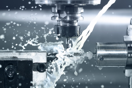 industrial machinery: Close up of CNC machine at work Stock Photo