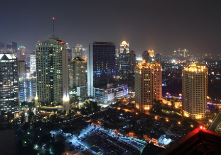 Night view of a metropolitan city photo