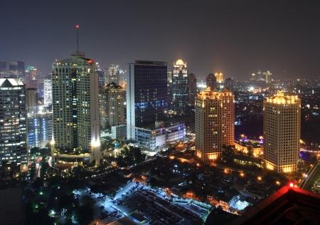 jakarta: Night view of a metropolitan city Stock Photo