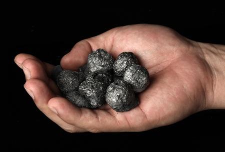 손 고품질의 코크스 석탄의 무리를 들고