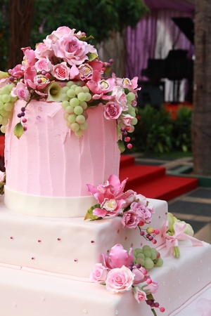 Multi layered wedding cake