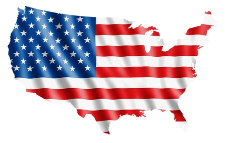 patriotic usa: USA map with rippled flag on white illustration