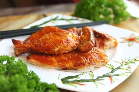 Delicious crispy chicken oriental style Stock Photo