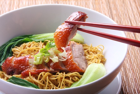 chinese noodles: Chinese Peking Duck noodle soup Stock Photo