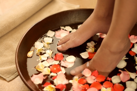 female feet: Foot spa and aromatherapy