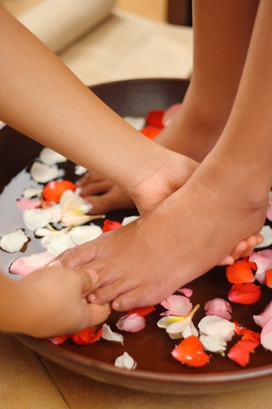 Foot massage spa and aromatherapy Stock Photo