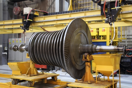 Steam turbine at the workshop Stock Photo