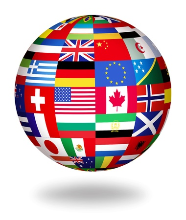 Floating globe covered with world flags photo