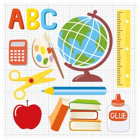 pegamento: Diversi�n y juguet�n suministros iconos escolares Vectores