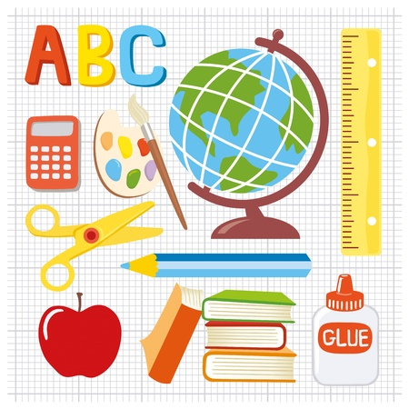 needs: Fun and playful school supplies icons