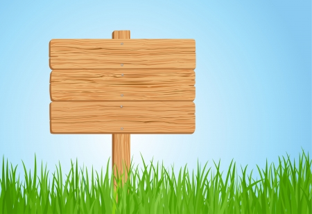 Green grass and Wooden sign in vector format Çizim