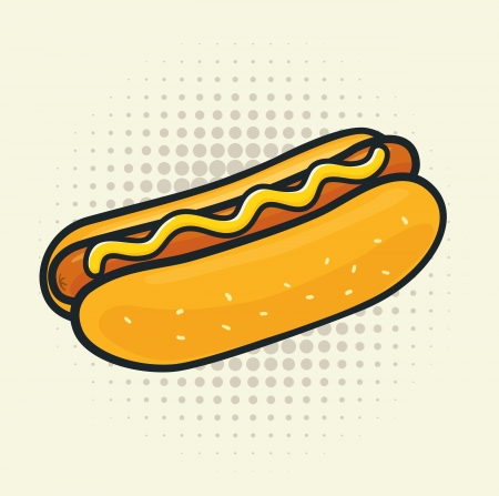 hot dog: Delicious hot dog. Halftone background is grouped separately for easy edit.