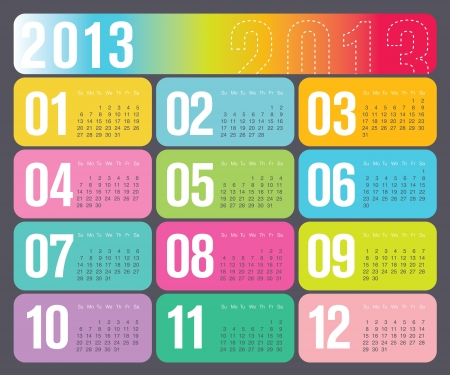 yearly: Moderno 2013 Calendario Anual Vectores