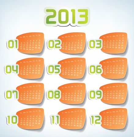 2013 Yearly Calendar. Sticker labels design illustration