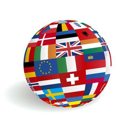 European flags in globe sphere Stock Vector - 16123364