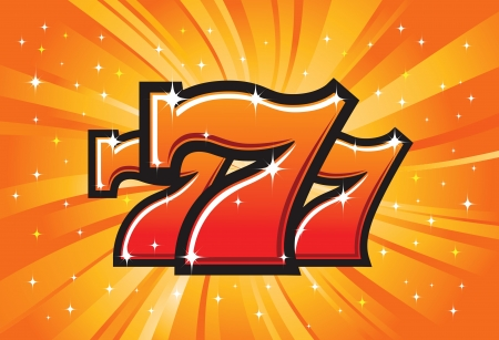 Triple Lucky Sevens burst  illustration Vector
