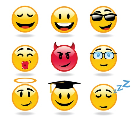 Many Facial Expression of smileys Vector