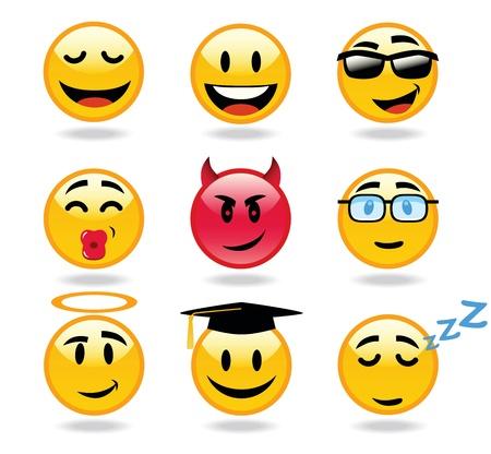 emoticone: Molti Espressione del viso di smiley Vettoriali