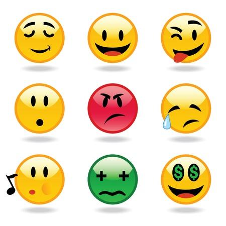 emo: Veel gelaatsuitdrukking van smileys Stock Illustratie