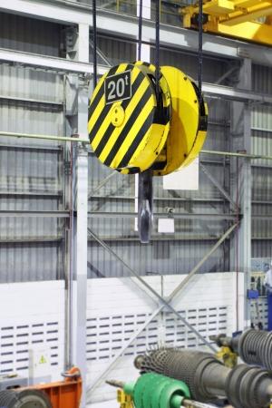 Factory interior crane pulley