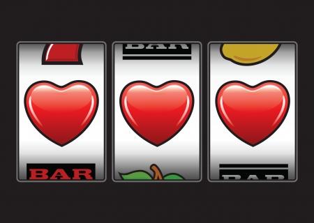 Winnaar drievoudige harten op gokautomaat Vector Illustratie