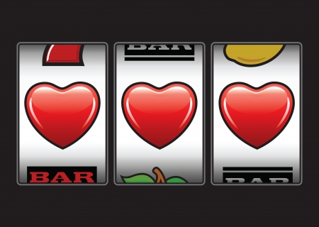machine: Winner triple hearts at slot machine
