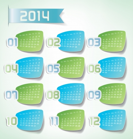 2014 Yearly Calendar. Sticker labels design illustration Vector