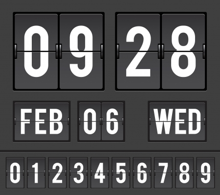 scoreboard: mechanical scoreboard with flip timers and date