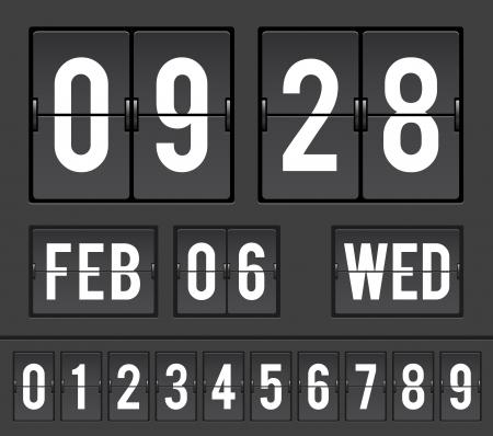 scorebord: mechanische scorebord met flip timers en datum